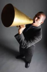 What is Your Christian Testimony- Man with bullhorn