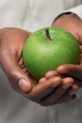 Bible Scripture study fruit of the spirit man holing apple