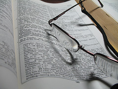 Christian Priorities free online bible courses: Bible with glasses