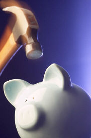 Christian stress Piggy Bank with hammer