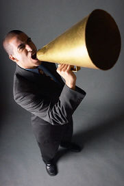 christian spiritual growth man with bullhorn