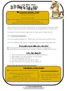 Worksheets Bible Study Worksheets For Kids bible study on lying free childs study