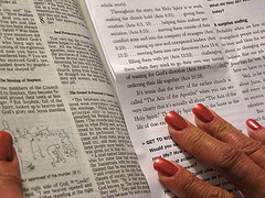 Woman using Free Printable Bible study lessons