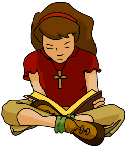 clipart girl reading Bible